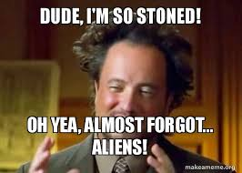 Stoned Meme - dude i m so stoned oh yea almost forgot aliens ancient