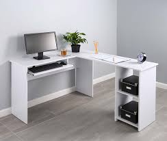 L Shaped Computer Desk Amazon by Amazon Com Fineboard L Shaped Office Corner Desk 2 Side Shelves