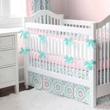 Design Crib Bedding Aqua Haute Baby Crib Bedding Teal Accents Bubblegum Pink And