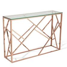 rose gold console table betty glass console table in clear with rose gold base