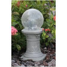 Gazing Balls Garden Smart Solar Crackled Glass Gazing Ball Light With Pedestal