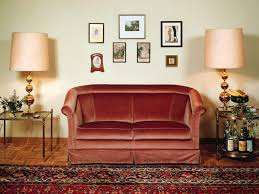 beauteous red sofa with twin side table and pretty table lamp also
