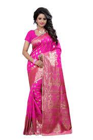 Pink Colour by Buy See More Self Design Art Silk Pink Colour Banarasi Saree With