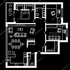 linear architectural sketch plan of three bedroom apartment on