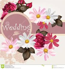 greetings for a wedding card wedding invitation card with flowers stock vector illustration