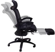 all mesh reclining office chair w seat slide and footrest