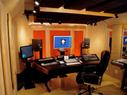 Recording Studio Desk Design by Modern Black Wood Studio Desk Design With Curved Shaped Long Desk