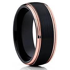 mens black tungsten wedding bands 8mm unisex or s wedding bands mens wedding rings black