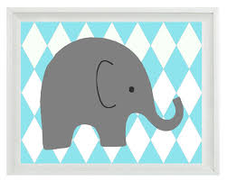 Harlequin Home Decor Elephant Nursery Wall Art Print Aqua Gray Decor Harlequin