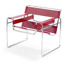 wassily poltrona fauteuil design bauhaus en cuir en acier en peau de vache