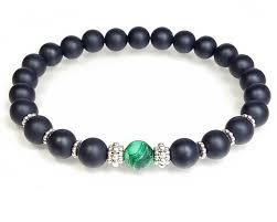 s bracelet malachite matte black onyx sterling silver beaded bracelet