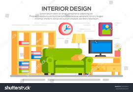 Living Room With Furniture Flat Style Concept Set Interior Design Stock Vector 540273613