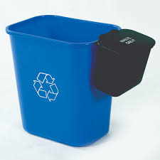 75 gallon two stream hanging waste basket for deskside recycling