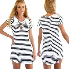 crew neck short sleeve striped loose t shirt mini dress at amazon