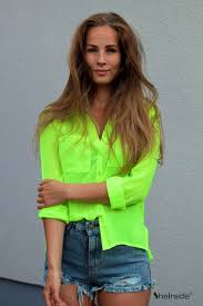neon blouse green sleeve pockets front semi sheer blouse sheinside com