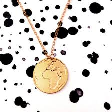 World Map Necklace by Gold Earth Pendant Gold Filled And Silver Necklace Globe Icon