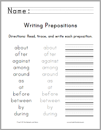 writing the top 25 prepositions student handouts