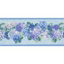 451 1704 blue hydrangea bunches brewster wallpaper borders