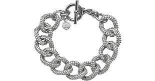 crystal chain link bracelet images Lyst michael kors silvertone pave curb link bracelet in metallic jpeg