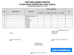 format absensi ujian contoh daftar hadir panitia pengawas peserta uas terbaru