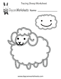 preschoolers can trace a sheep and a cloud and then color them in