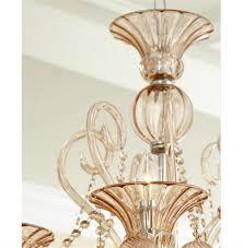 Hurricane Chandelier Bella Vetro 6 Light Pale Blush Murano Style Glass Chandelier