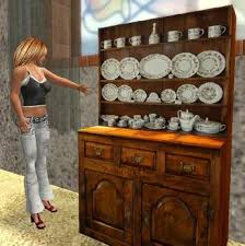 second life marketplace welsh dresser with crockery one prim