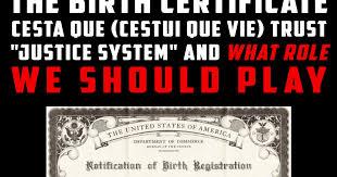 Blind Trust Australia The Birth Certificate Cesta Que Cestui Que Vie Trust