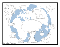 color earth day placemat to color http www kidscanhavefun com