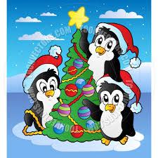 cartoon christmas scene penguins clairev toon