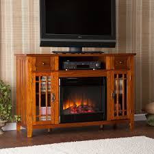 furniture oak electric fireplace tv stand with media shelf and