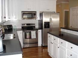 black and white cabinet knobs black and white kitchen with stainless steel appliances and cabinet