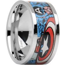 the marvels wedding band officially licensed marvel captain america steel printed comic