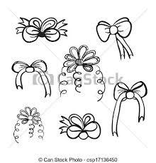 clipart vector of hand drawn bow vector set vector set of seven