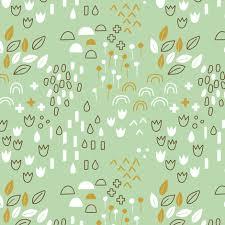 scandi garden green fabric zoyu spoonflower