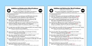 addition and subtraction word problems worksheet year 3 arabic