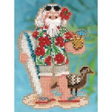 amazon com hawaii santa cross stitch kit