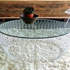 metal coffee tables tanner table with glass top thippo