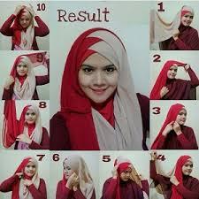 tutorial jilbab dua jilbab 15 tutorial hijab segi empat dua warna untuk pesta terbaru