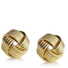 stud gold 9ct gold knot stud earrings page 1 qvc uk
