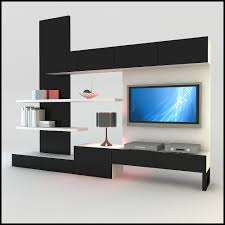 3d model modern design tv wall unit with bookshelf furniture ideas