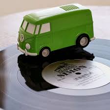 pink volkswagen van inside record runner vw bus portable self contained vinyl record player