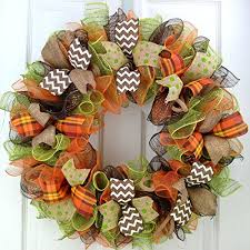 fall deco mesh wreaths thanksgiving door wreath