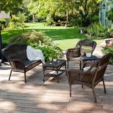 Patio Chair Material by Wicker Outdoor Patio Furniture Set 5 Pc Conversation Set Tempered