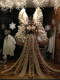Outdoor Lighted Christmas Angels by Christmas Window Display With Paper Plate Angel Wings Burlap Gown