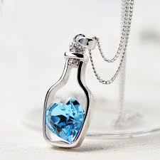 blue heart necklace jewelry images Blue heart in bottle necklace saihat store jpg