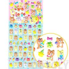 birthday themed teddy bear pig shaped puffy stickers u2013 dotoly