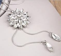 white necklace fashion jewelry images White crystal sunflower tassel long necklace women fashion jewelry jpg