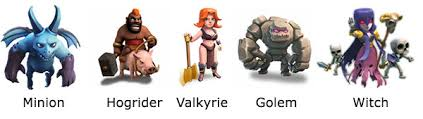 list of troops available in clash of clans
