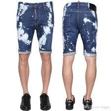 2018 stonewash blue bleached shorts painted denim shorts